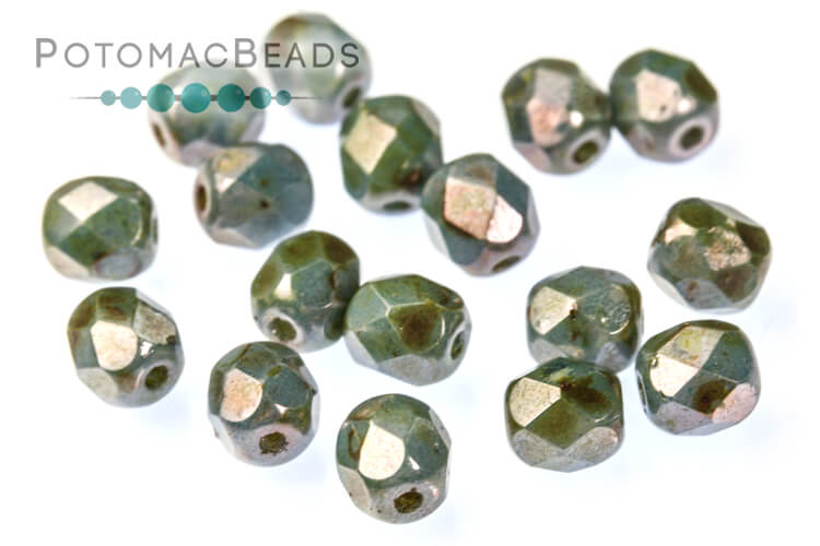 Czech Faceted Round Beads - White Blue Luster 4mm