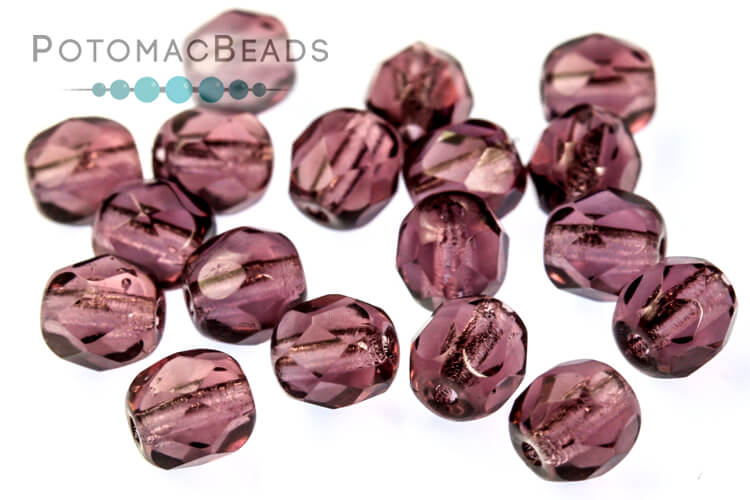 Czech Faceted Round Beads - Amethyst 4mm