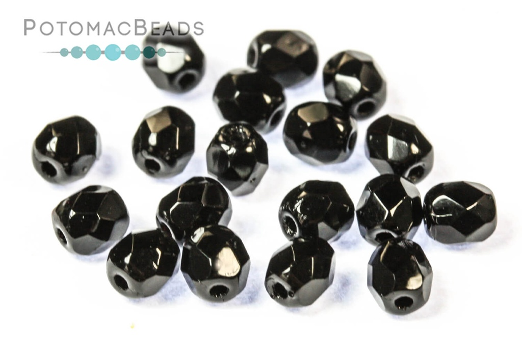 Czech Faceted Round Beads - Jet 4mm