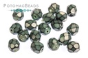 Czech Faceted Round Beads - Snake Blue Spruce 4mm