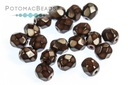 Czech Faceted Round Beads - Snake Dark Chocolate 4mm