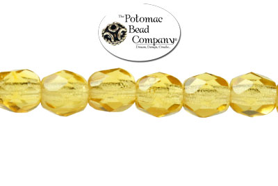 Czech Faceted Round Beads - Amber 4mm
