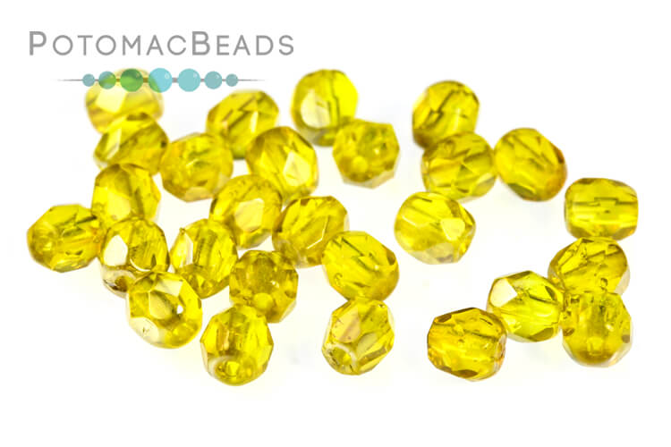 Czech Faceted Round Beads - Amber Celsian 4mm