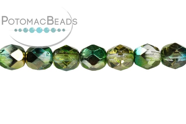 Czech Faceted Round Beads - Sunny Magic Summer Green 3mm