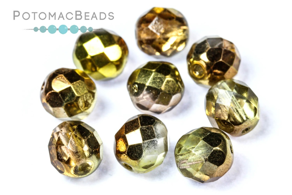 Czech Faceted Round Beads - Sunny Magic Gold 8mm