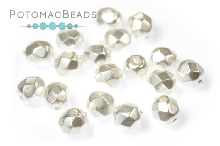 Czech Faceted Round Beads - Pearl Bright White 4mm