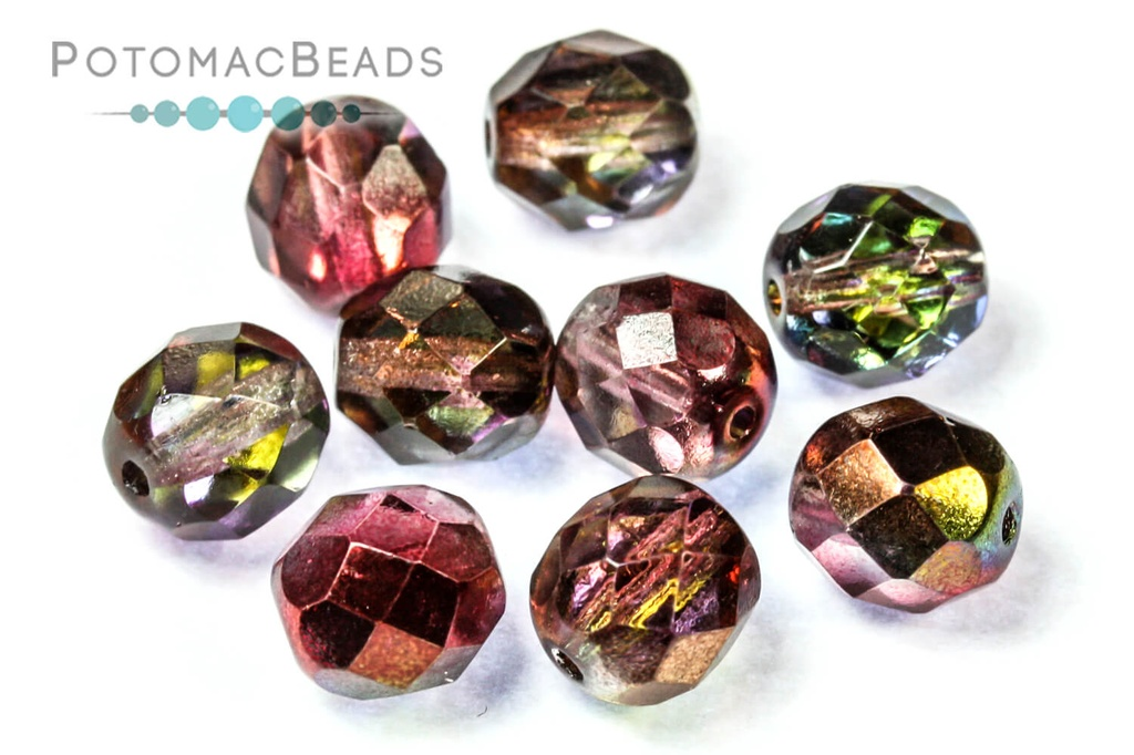Czech Faceted Round Beads - Crystal Magic Wine 8mm