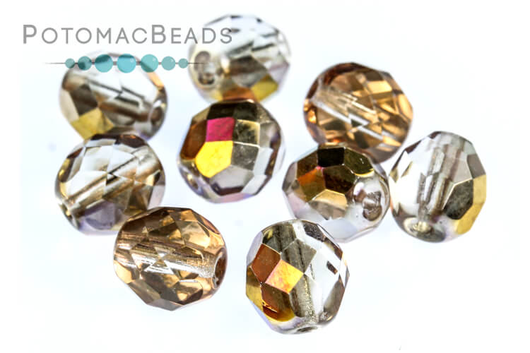 Czech Faceted Round Beads - Crystal Sliperit 8mm