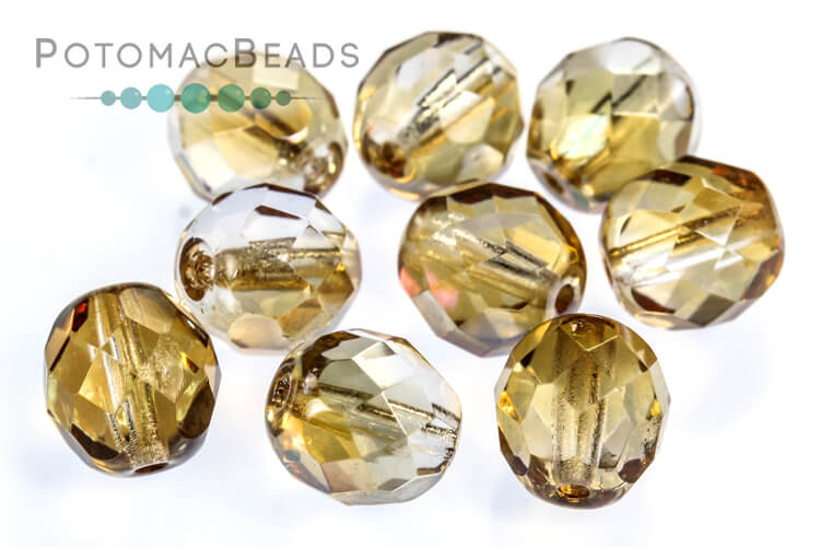 Czech Faceted Round Beads - Crystal Celsian 8mm
