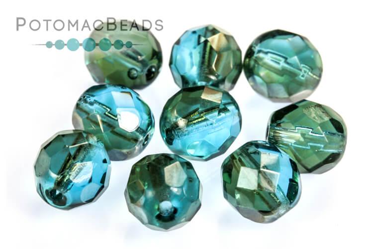 Czech Faceted Round Beads - Aqua Celsian 8mm