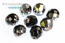 Czech Faceted Round Beads - Jet Marea 8mm