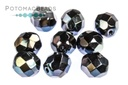 Czech Faceted Round Beads - Jet Blue Flare 8mm