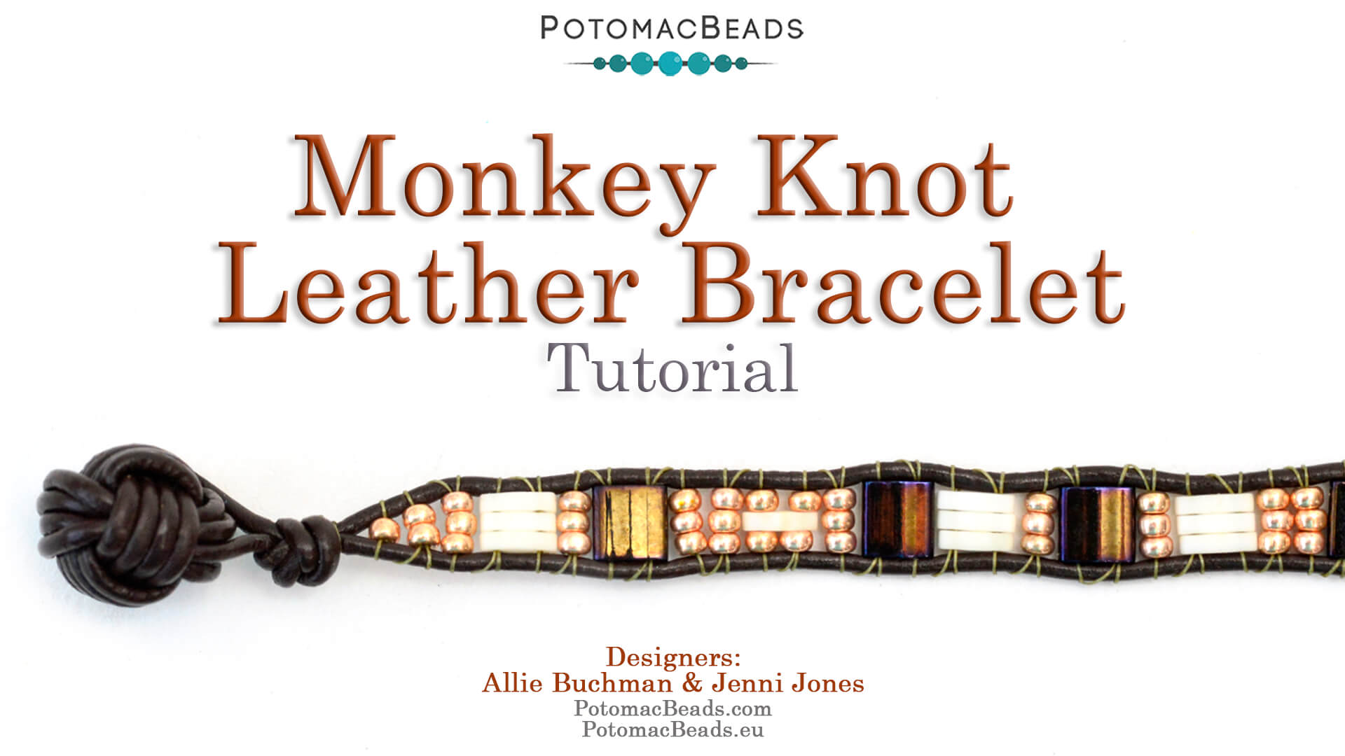 How to Bead / Free Video Tutorials / Stringing & Knotting Projects / Monkey Knot Leather Bracelet Tutorial