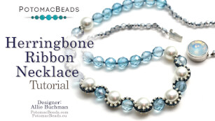 How to Bead Jewelry / Beading Tutorials & Jewel Making Videos / Bead Weaving Tutorials & Necklace Tutorial / Herringbone Ribbon Necklace Tutorial
