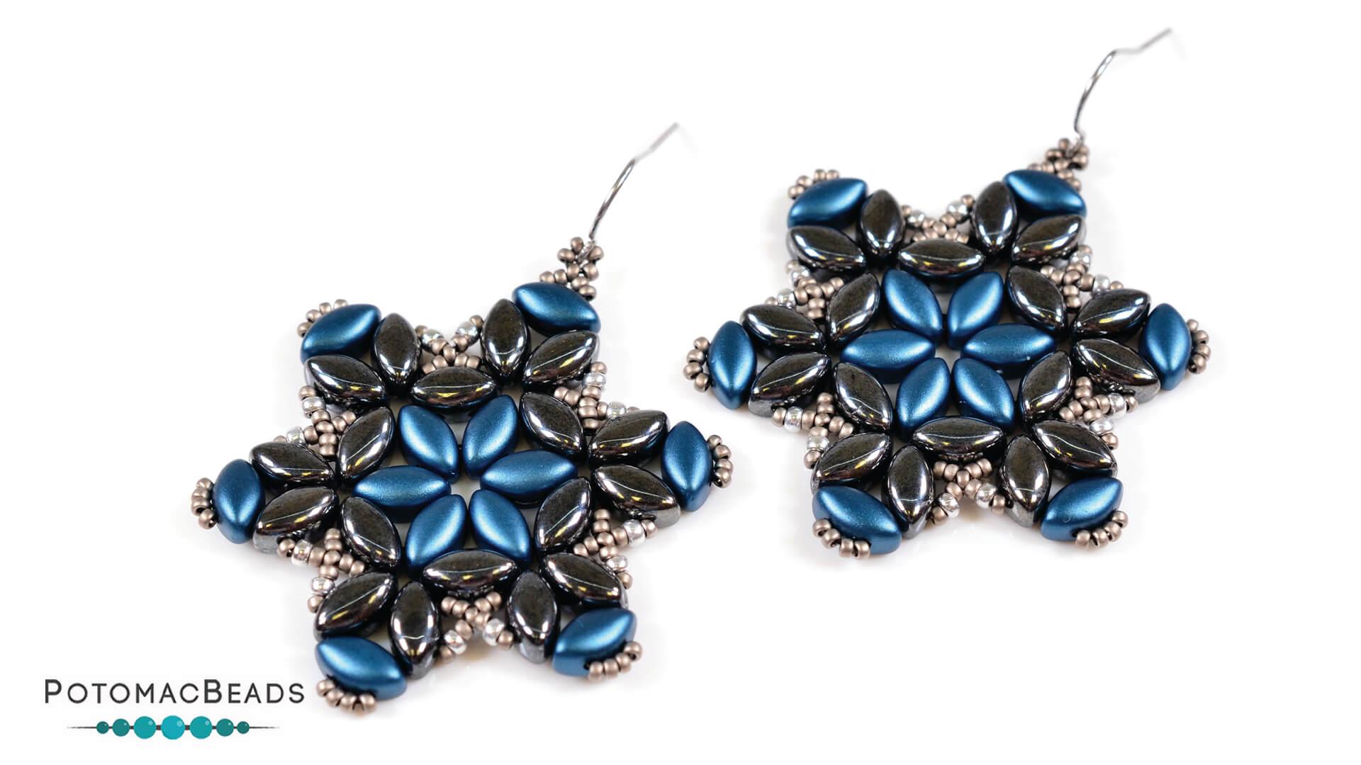 How to Bead Jewelry / Free Beading Patterns PDF / IrisDuo Bead Patterns / Iris Flower Earrings Tutorial