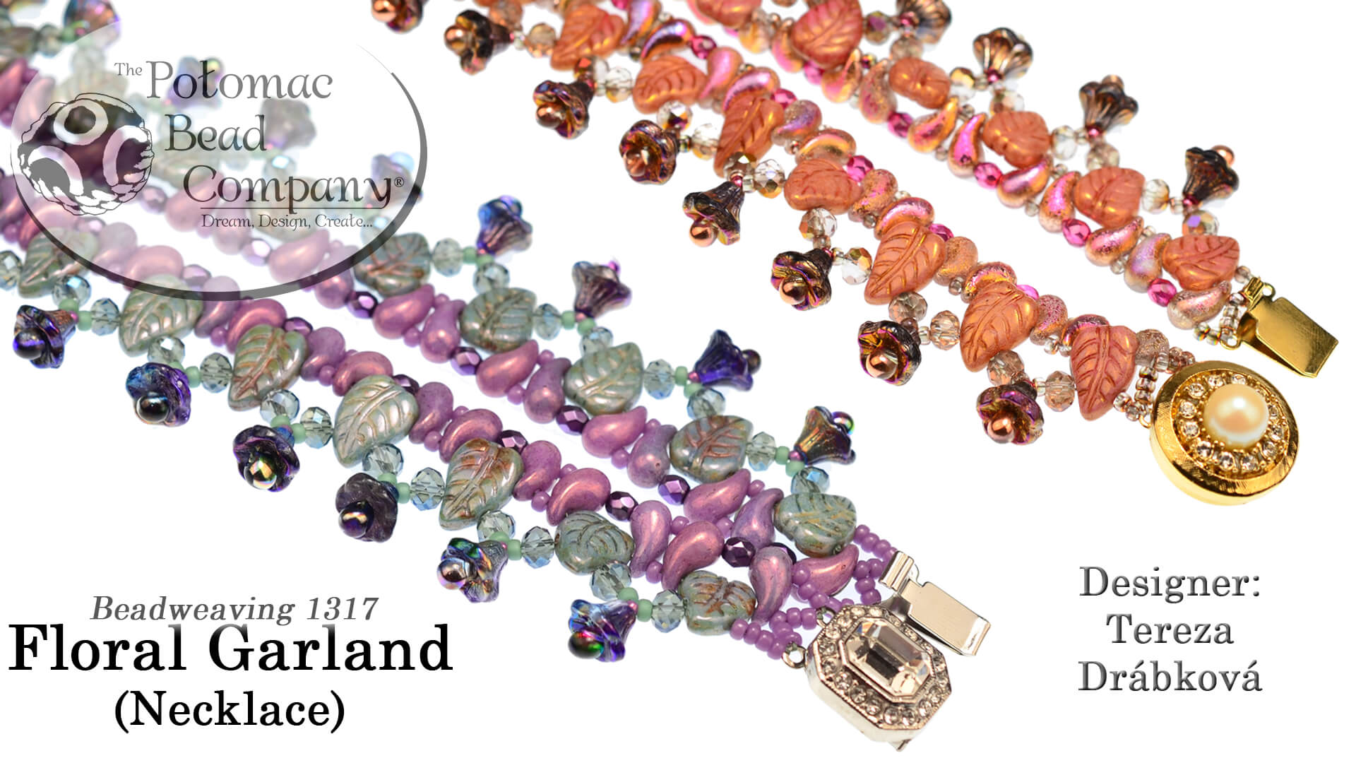 How to Bead Jewelry / Videos Sorted by Beads / ZoliDuo and Paisley Duo Bead Videos / Floral Garland Necklace Tutorial