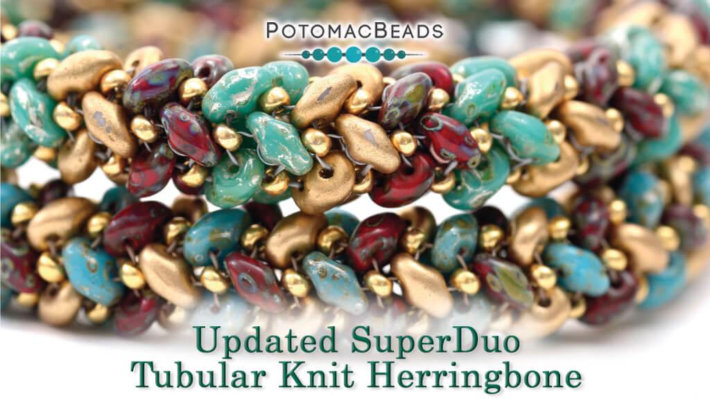 How to Bead Jewelry / Beading Tutorials & Jewel Making Videos / Bracelet Projects / SuperDuo Tubular Knit Herringbone Tutorial