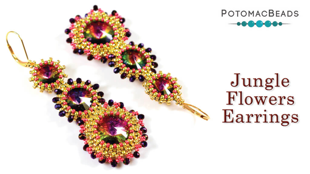 How to Bead Jewelry / Videos Sorted by Beads / Potomac Crystal Videos / Jungle Flowers Earrings Tutorial