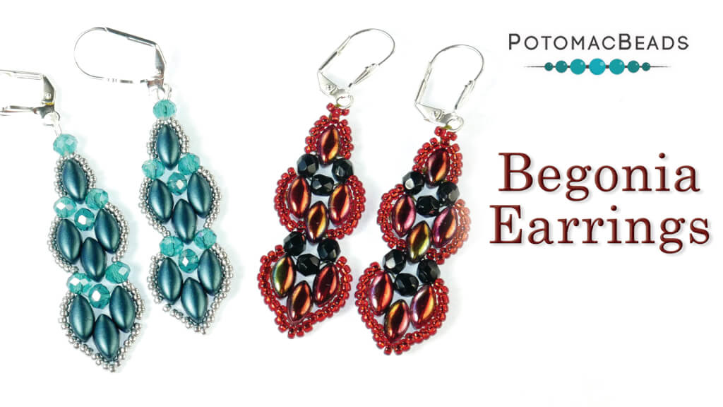 How to Bead Jewelry / Videos Sorted by Beads / Potomac Crystal Videos / Begonia Earrings Tutorial