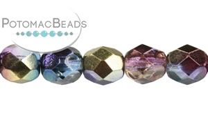 Czech Pressed Glass Beads / Fire Polished Faceted Rounds / Czech Fire Polished Faceted Round Beads 6mm