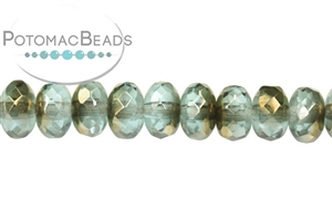 Czech Pressed Glass Beads / Czech Fire Polished Beads / Faceted Rondelles 4x7mm