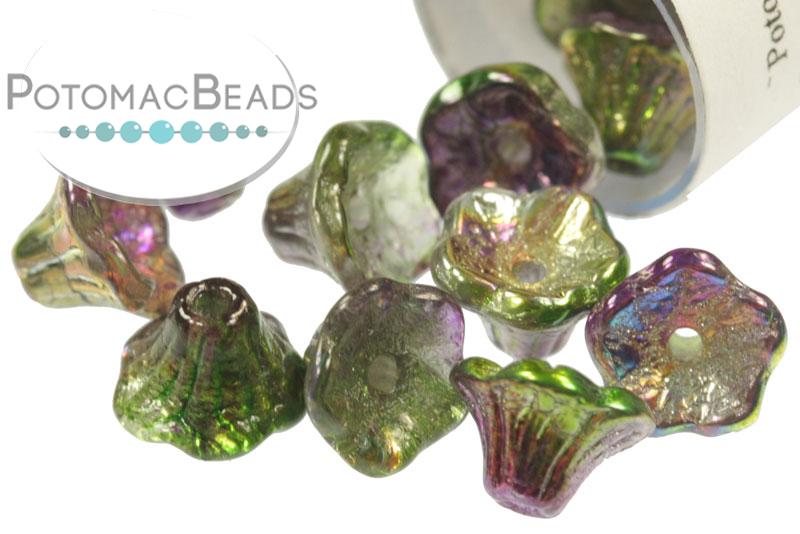 Czech Pressed Glass Beads / Czech Glass Flower Beads