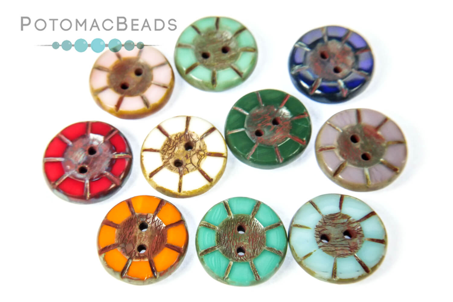 Other Beads & Supplies / Buttons / Czech Cup Buttons and Table Cut Buttons Glass