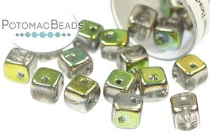 Czech Pressed Glass Beads / CrissCross Cubes (Closeout)