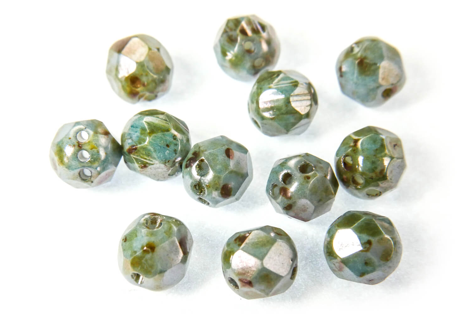 Czech Pressed Glass Beads / RounTrio® Faceted Beads