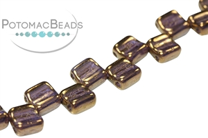 Czech Pressed Glass Beads / Groovy Tiles