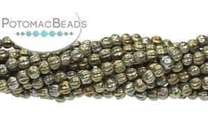 Czech Pressed Glass Beads / Round Melon Beads / Melon Ridged Round Beads 3mm