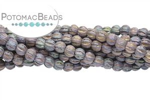 Czech Pressed Glass Beads / Round Melon Beads / Melon Ridged Round Beads 4mm