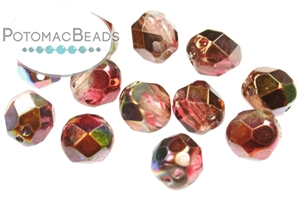 Czech Pressed Glass Beads / 3 Hole Beads / Faceted RounTrio® Beads