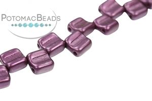 Czech Pressed Glass Beads / Czech Glass & Japanese Two Hole Beads / Groovy Tiles