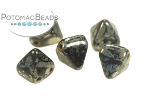 Czech Pressed Glass Beads / Czech Glass & Japanese Two Hole Beads / Pyramid Beads