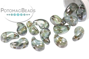 Czech Pressed Glass Beads / ZoliDuo Beads (Two Hole Pressed Paisley Comma Shaped Beads)