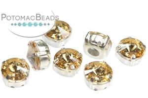 Czech Pressed Glass Beads / Czech Glass & Japanese Two Hole Beads / Potomac Crystal Rivoli in Setting