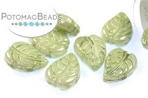 Czech Pressed Glass Beads / Czech Glass & Japanese Two Hole Beads / LeafDuo