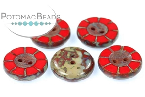 Czech Pressed Glass Beads / Table Cut Buttons