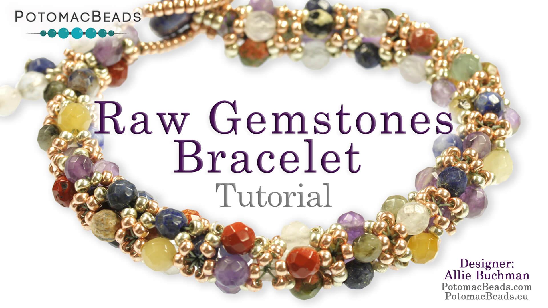 How to Bead Jewelry / Beading Tutorials & Jewel Making Videos / Bracelet Projects / RAW Gemstone Bracelet Tutorial