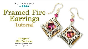 How to Bead / Free Video Tutorials / Earring Projects / Framed Fire Earrings Tutorial