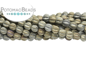 Czech Pressed Glass Beads / Round Melon Beads / Melon Ridged Round Beads 6mm