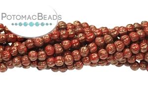 Czech Pressed Glass Beads / Round Melon Beads
