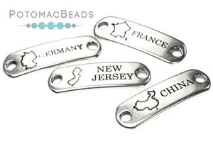 Other Beads & Supplies / Metal Beads & Findings / Potomax Metal Multi-Hole Beads / Destination Tags