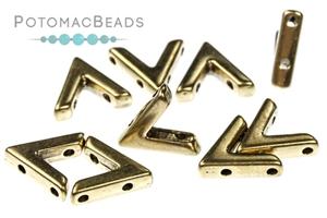 Czech Pressed Glass Beads / 3 Hole Beads / Potomax Metal AVA Beads