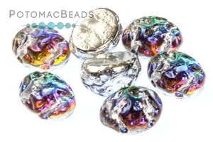 Czech Pressed Glass Beads / Czech Glass & Japanese Two Hole Beads / Baroque Oval Cabochons 8x6mm