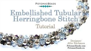 How to Bead Jewelry / Beading Tutorials & Jewel Making Videos / Bracelet Projects / Embellished Tubular Herringbone Stitch Tutorial