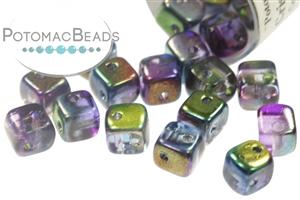 Czech Pressed Glass Beads / CrissCross Cubes - Clearance