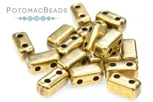 Czech Glass / 2-Hole Beads / Potomax Brick Metal Beads