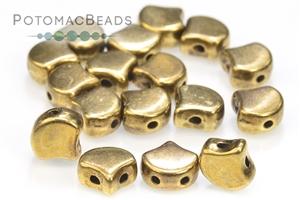Czech Glass / 2-Hole Beads / Potomax Ginko Metal Beads